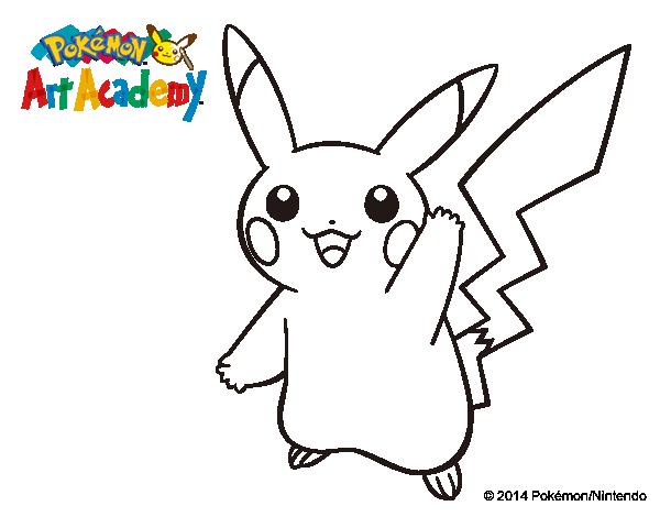 Dibujos Para Colorear Pikachu Pokemon: Dibujo De Pikachu Saludando Para Colorear