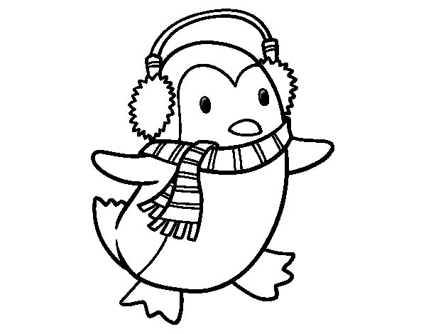Dibujo de Pingino con bufanda para Colorear  Dibujosnet
