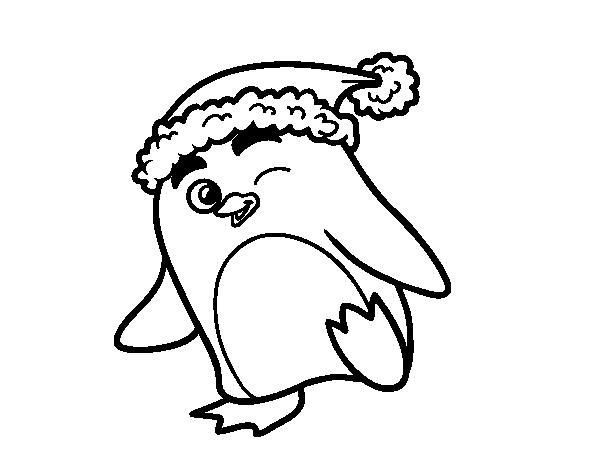 Dibujo de ping ino con gorro de navidad para colorear - Dibujos para pintar navidad ...