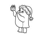 Dibujo de Pingüino con gorro y regalo de Navidad para colorear