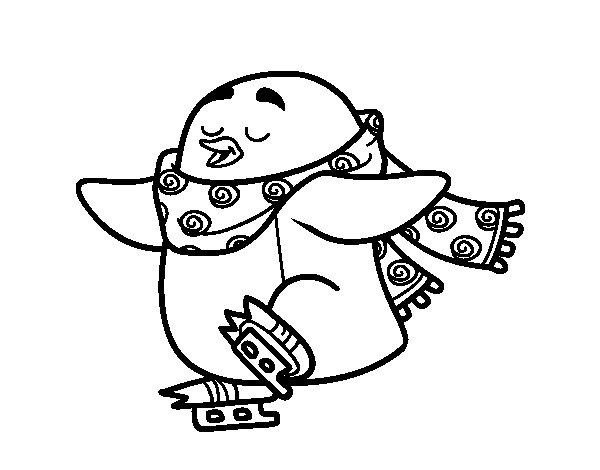 dibujo de pingino patinando sobre hielo para colorear