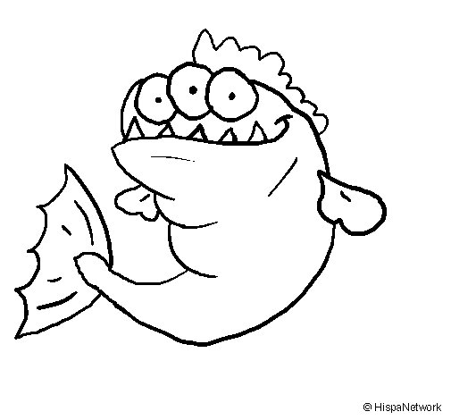 Dibujo de Piraña de tres ojos para Colorear