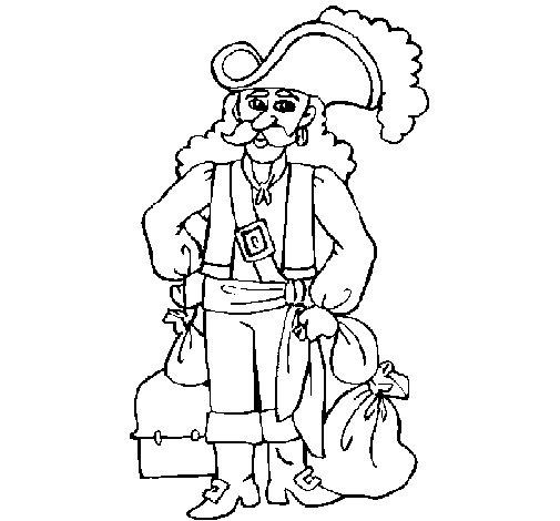 Dibujo de Pirata con sacos de oro para Colorear