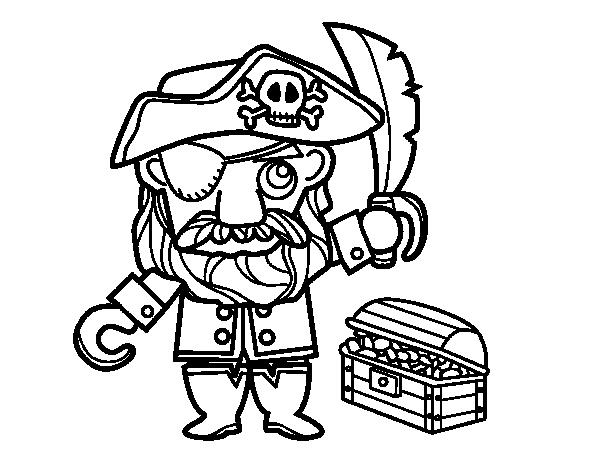 Worksheet. Dibujo de Pirata con tesoro para Colorear  Dibujosnet