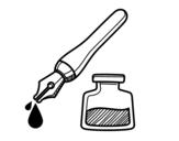 Dibujo de Pluma y tintero para colorear