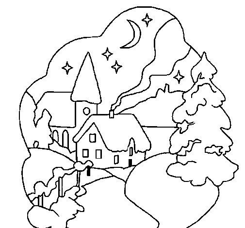 Dibujo de Poblado navideño para Colorear