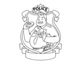 Dibujo de Policía con rosquilla para colorear