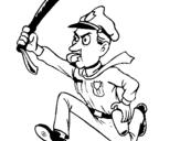 Dibujo de Policía corriendo para colorear