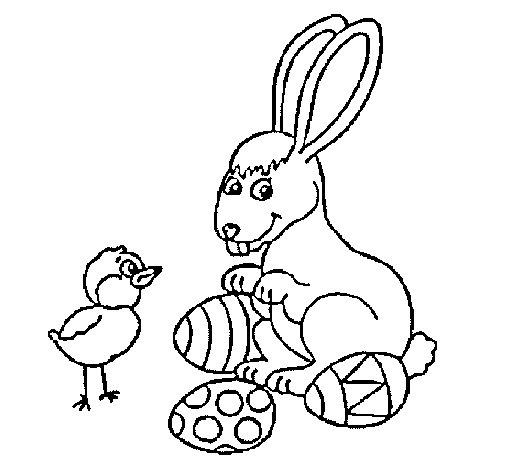 Dibujo de Pollito, conejito y huevitos para Colorear