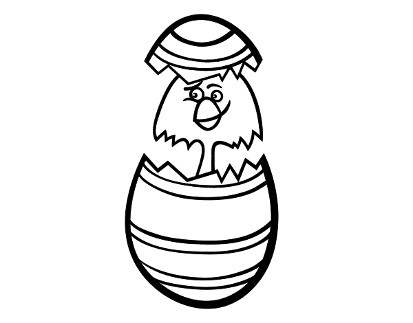 Dibujo de Pollito en un huevo de pascua para Colorear  Dibujosnet