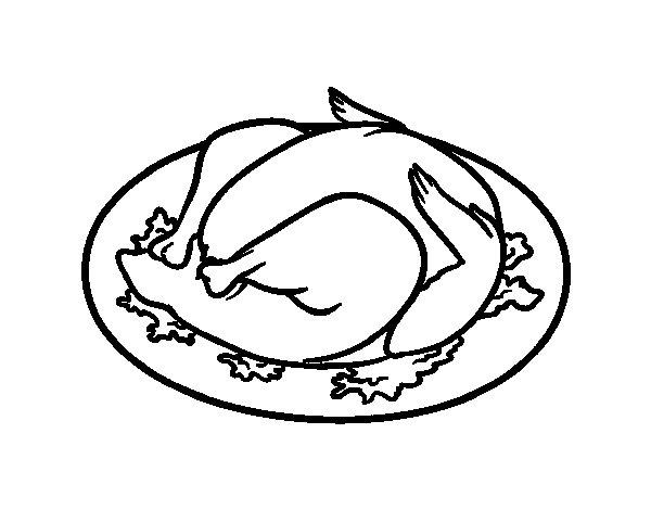 Dibujo de Pollo al ast para Colorear