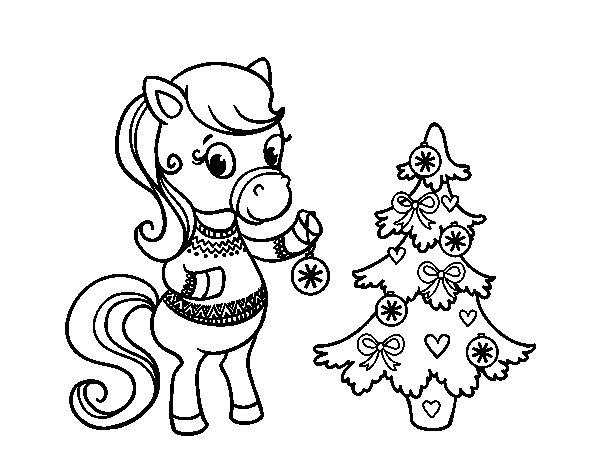 Dibujo de Poni navideño para Colorear