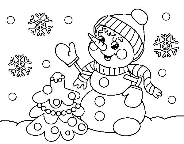 Dibujo de postal de navidad mu eco de nieve para colorear - Dibujos de navidad originales ...