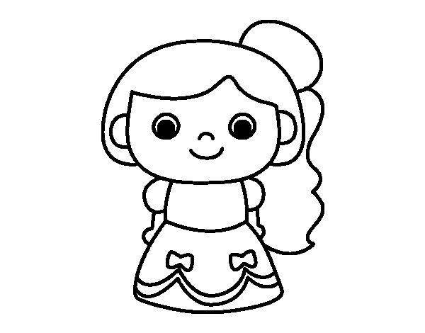 Dibujo de Princesa alegre para Colorear