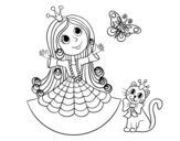 Dibujo de Princesa con gato y mariposa para colorear