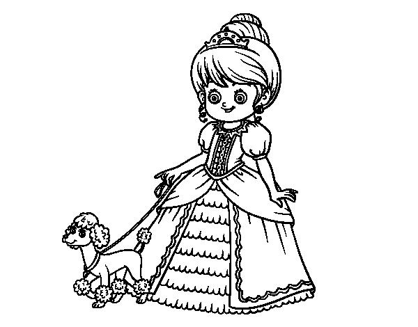 Dibujos De Princesas Para Colorear: Dibujo De Princesa Con Perrito Para Colorear