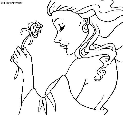 Dibujo de Princesa con una rosa para Colorear  Dibujosnet