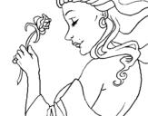 Dibujo de Princesa con una rosa para colorear