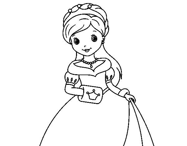 Dibujo de Princesa de gala para Colorear  Dibujosnet