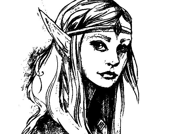 Dibujo de Princesa elfo para Colorear