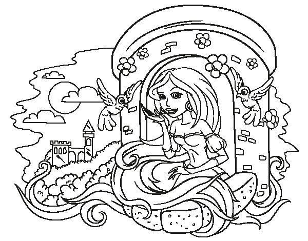 Dibujo de Princesa Rapunzel para Colorear  Dibujosnet