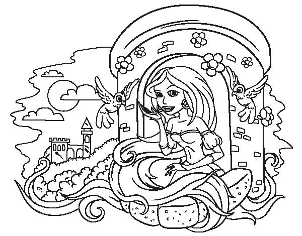Dibujo de Princesa Rapunzel para Colorear - Dibujos.net