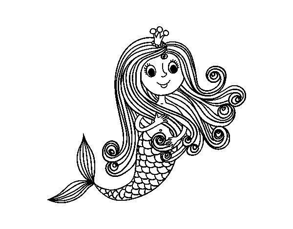 Dibujo de Princesa sirena para Colorear