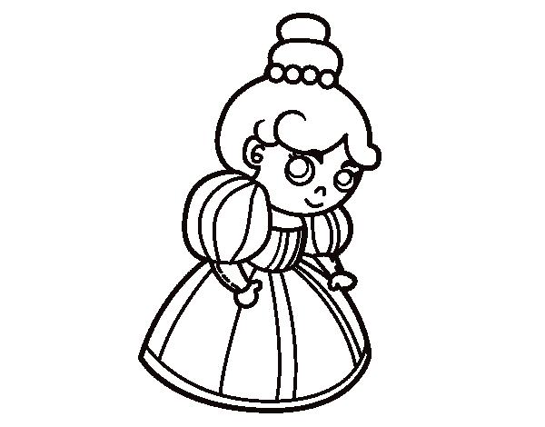 Dibujo de Princesa sonriente para Colorear