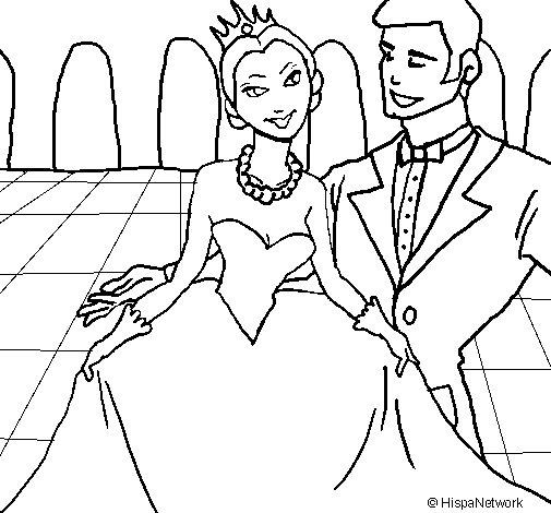 Dibujo de Princesa y príncipe en el baile para Colorear