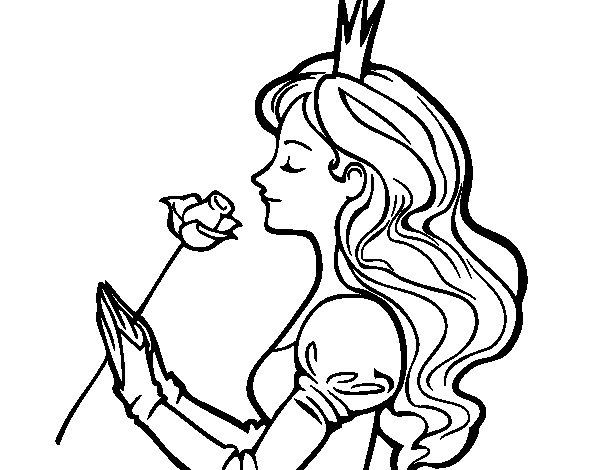 Dibujo De Princesa Y Rosa Para Colorear