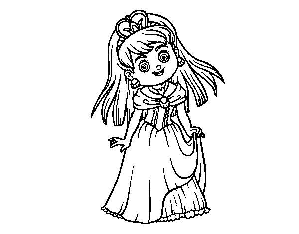 Dibujo de Princesita encantadora para Colorear