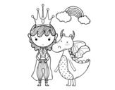 Dibujo de Príncipe y dragón para colorear