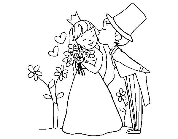 Dibujo de Príncipes recién casados para Colorear
