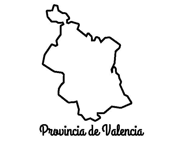 Dibujo de Provincia de Valencia para Colorear
