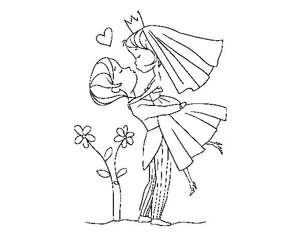 dibujo de puedes besar a la novia para colorear