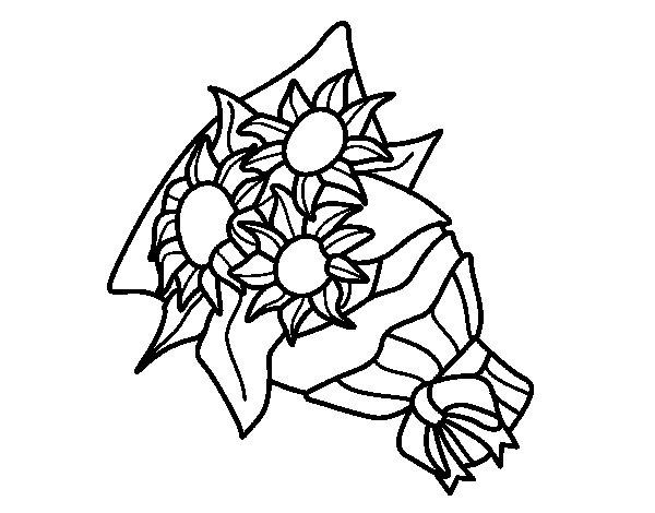 Dibujo de Ramo de girasoles para Colorear