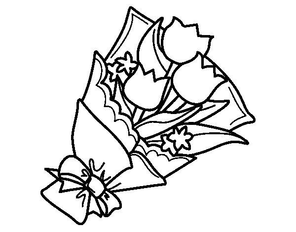 Dibujo de Ramo de tulipanes para Colorear
