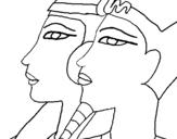 Dibujo de Ramsés y Nefertiti para colorear