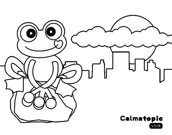 dibujo de rana calmatopic en la ciudad para colorear