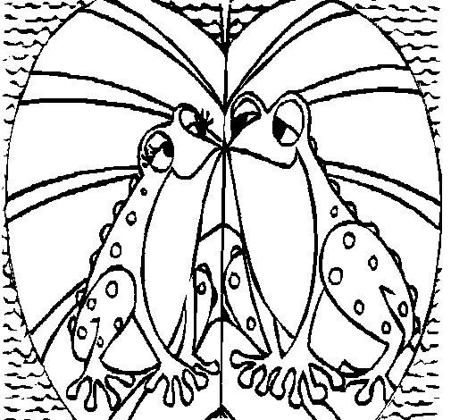 dibujo de ranas amndose para colorear
