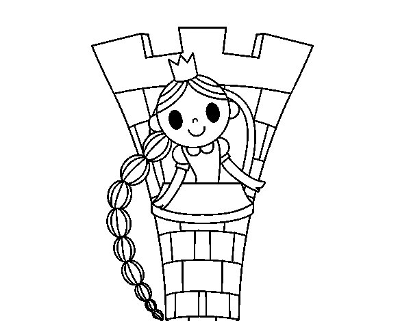 Dibujo de Rapunzel en la torre para Colorear  Dibujosnet