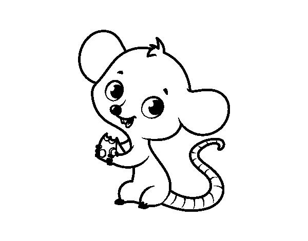 Dibujos Animados De Bebes Para Colorear: Dibujo De Ratón Bebé Para Colorear
