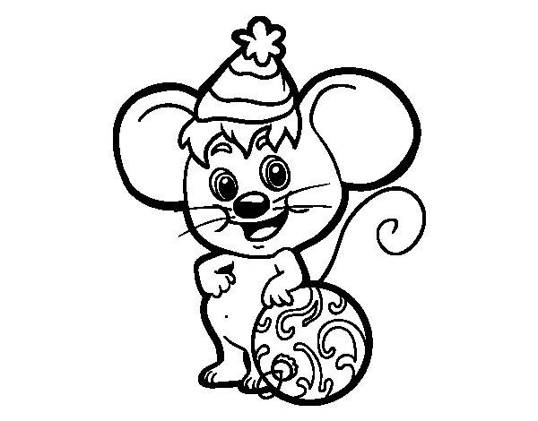 dibujo de ratn con gorro de navidad para colorear