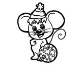 Dibujo de Ratón con Gorro de Navidad