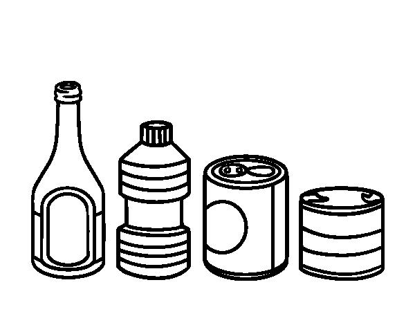 Dibujo de reciclaje de envases para colorear - Pintar botellas de plastico ...