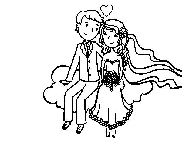 Dibujo de Recién casados en una nube para Colorear