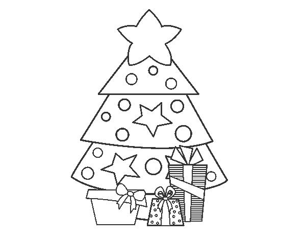 Dibujo de regalos de navidad 2 para colorear for Dibujo arbol navidad