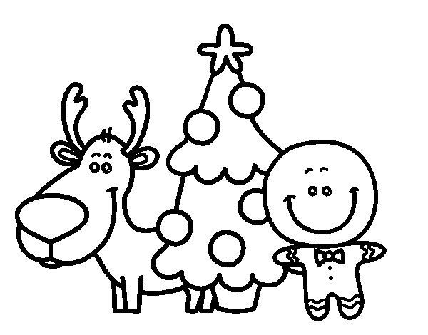 Dibujo de Reno, árbol y mazapán para Colorear
