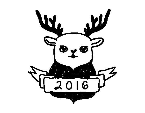 Dibujo de Reno de Fin de Año para Colorear