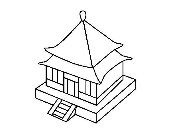 Dibujo de residencia japonesa para colorear for Casa tipica giapponese